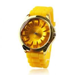 Modische Quartz Armbanduhr mit gelben Silikon-Band
