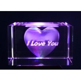 3D Kristall Motiv I Love You