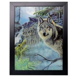 3D Bild mit Rahmen - Motiv wachende Wölfe
