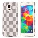 Gird Muster Hard Case mit Leder beschichtet für Samsung Galaxy S5